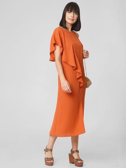 Orange Front Slit Midi Dress