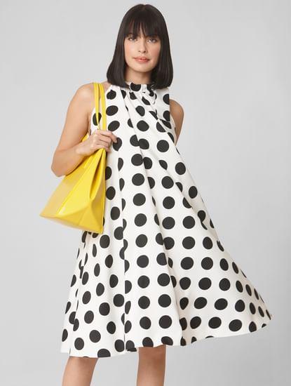 White Polka Dot Print Shift Dress