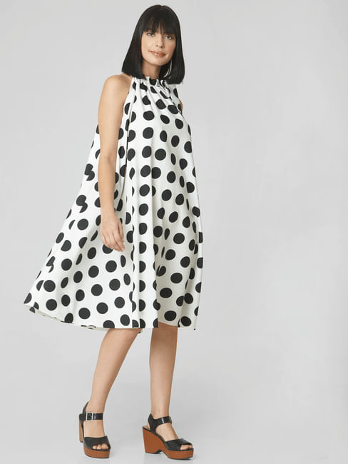 White Polka Dot Print Shift Dress