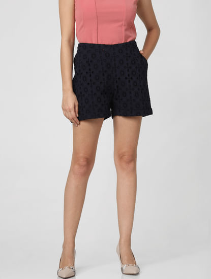 Navy Blue Mid Rise Lace Shorts