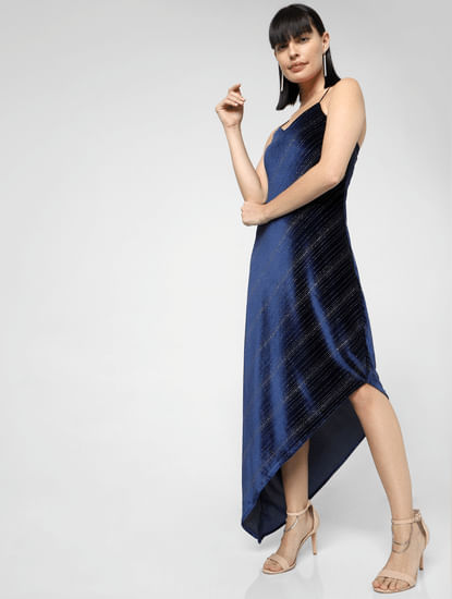 Navy Blue Asymmetric Maxi Dress