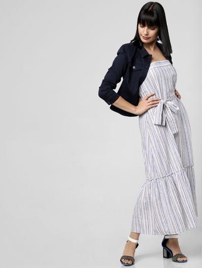 White Striped Maxi Dress