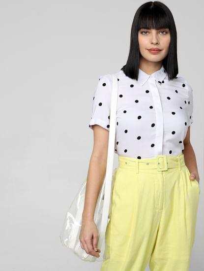 White Polka Dot Print Shirt
