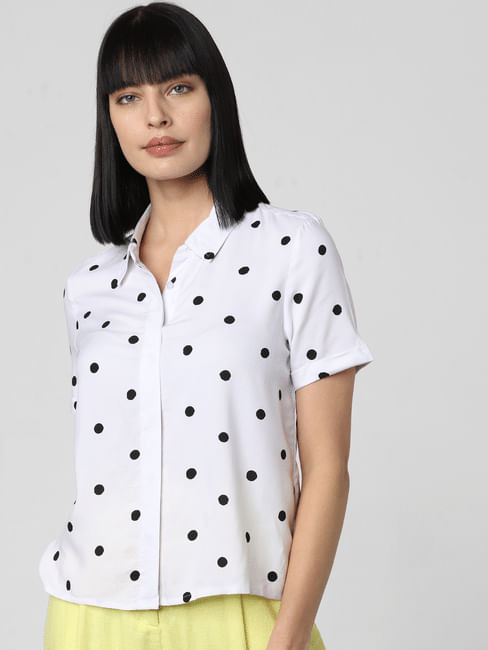 White Polka Dot Print Shirt