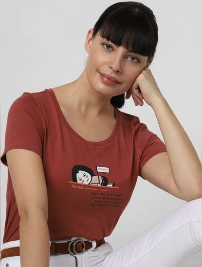 Dark Brown Graphic Print T-shirt