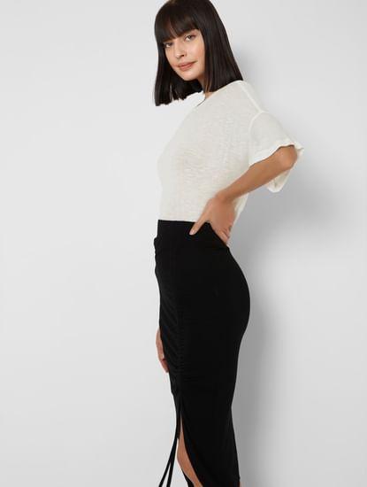 White Textured Stripes Oversized T-shirt