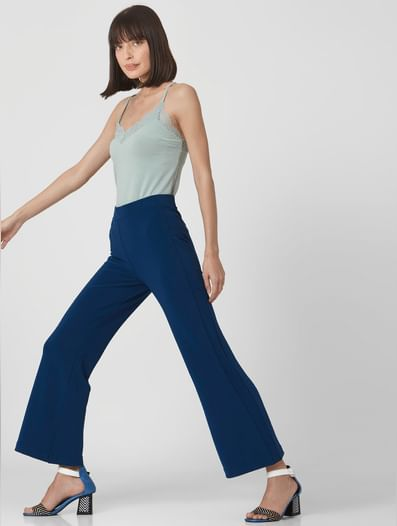 Blue Mid Rise Straight Fit Pants
