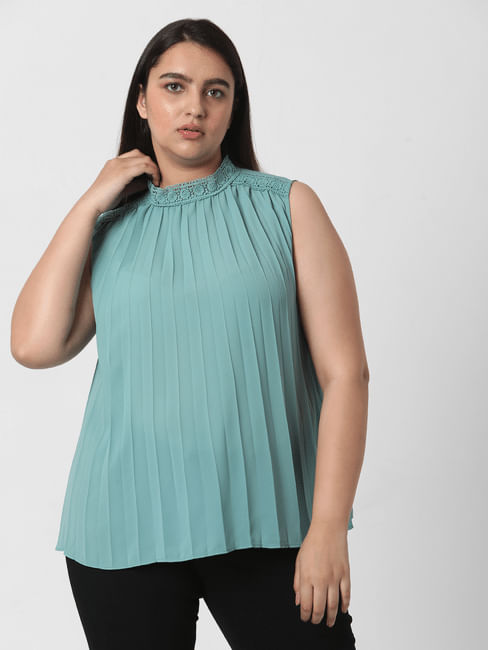 Blue High Neck Pleated Top