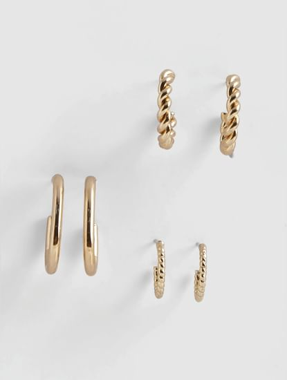 Gold Hoop Earrings - Pack of 3