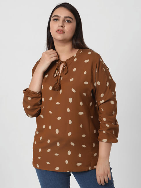 Brown Dotted Top