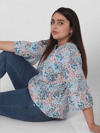 Blue Ditsy Print Ruffle Sleeves Top