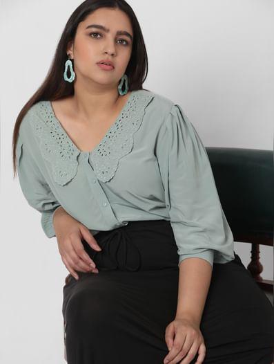 Green Lace Collar Shirt