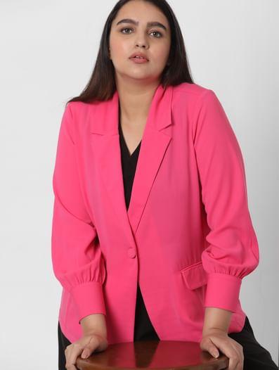 Pink Notched Regular Fit Blazer