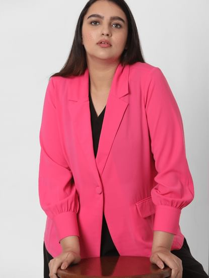 Pink Notched Regular Fit Blazer