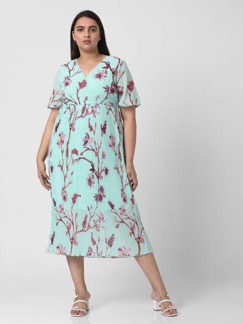 Green Floral Pleated Midi Dress