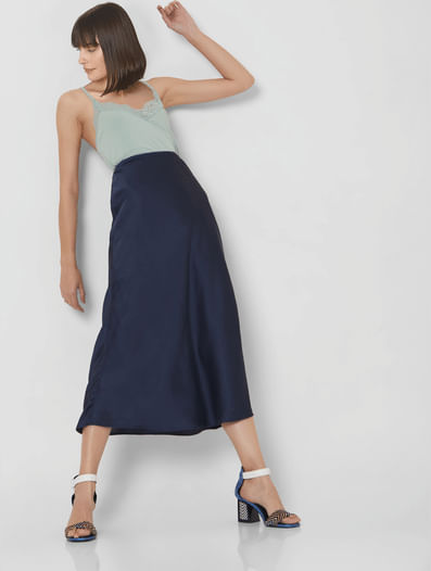 Navy Blue High Waist Midi Skirt