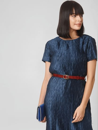 Blue Satin Pleated Shift Dress