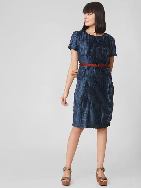 Blue Satin Pleated Shift Dress