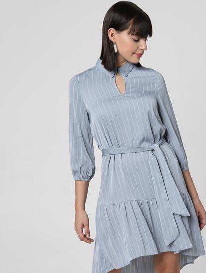 Blue Striped Belted Shift Dress