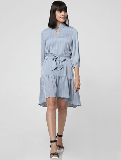 Blue Striped Belted Shift Dress