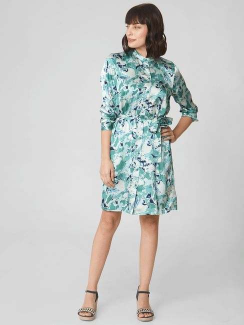 Light Green Printed Fit & Flare Dress