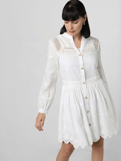 White Schiffli Embroidered Shift Dress