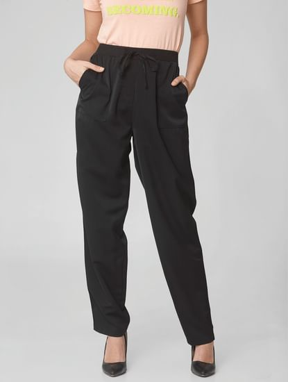 Black High Rise Straight Fit Trousers