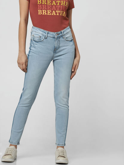 Light Blue Mid Rise Tape Detail Skinny Jeans