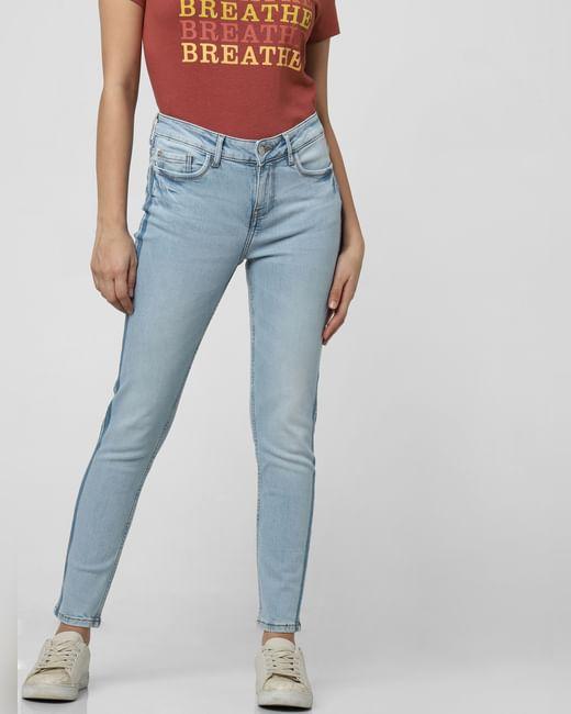 Light Blue Mid Rise Tape Detail Skinny Jeans