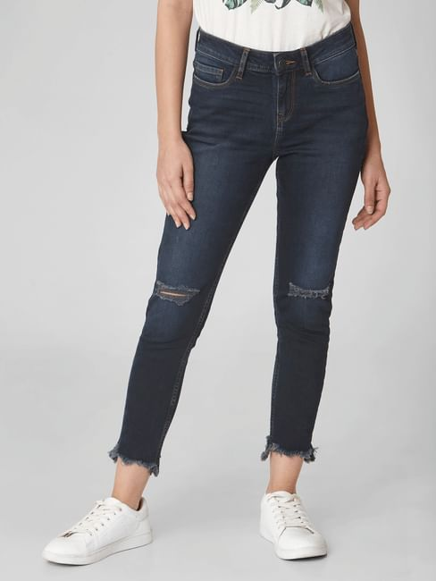 Dark Blue Mid Rise Ripped Skinny Jeans
