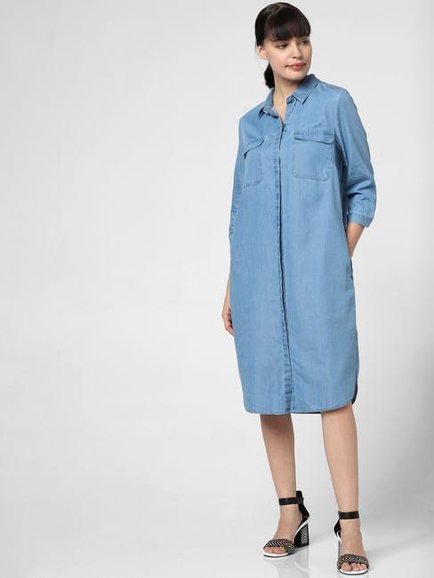 Blue Midi Shift Dress
