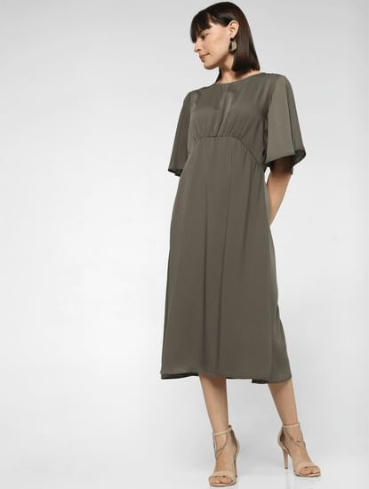 Dark Olive Satin Midi Dress