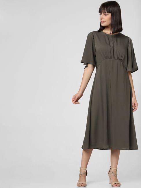 Dark Olive Satin Midi Dress
