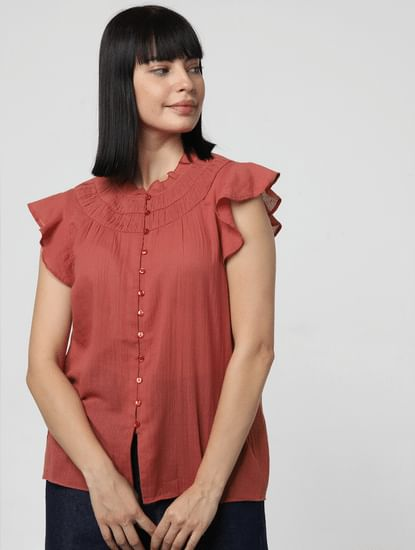 Rust Ruffle Top