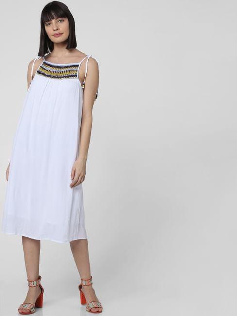 White Crochet Detail Shift Dress