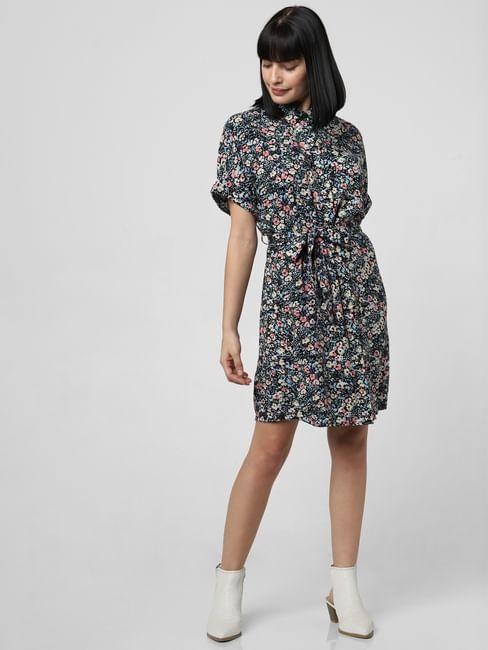 Black Floral Print Shirt Dress