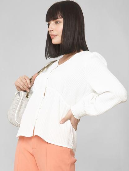 White Puffed Sleeves Shirt