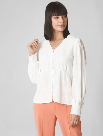White Puffed Sleeves Shirt