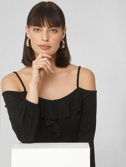 Black Cold Shoulder Frill Top