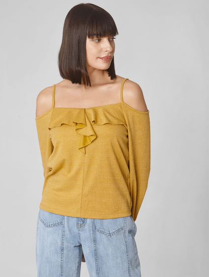 Mustard Cold Shoulder Frill Top
