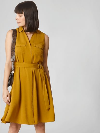 Mustard Belted Fit & Flare Dress