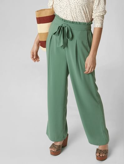 Green Mid Rise Belted Wide Leg Trousers