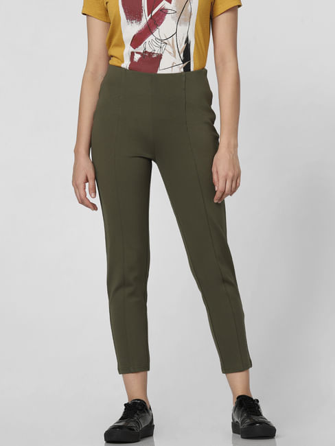 Olive High Rise Skinny Fit Pants