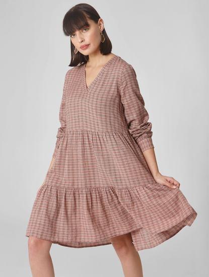Pink Check Shift Dress