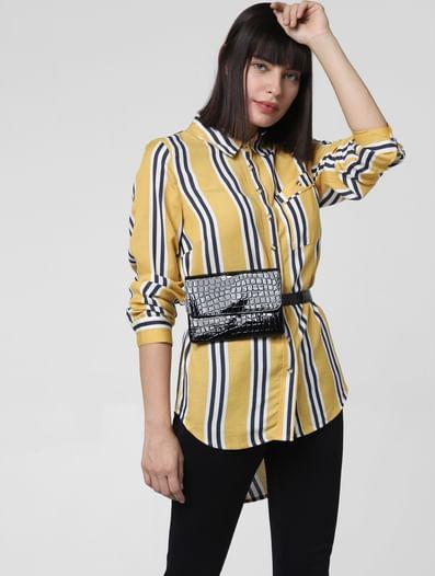 White Striped High-Low Shirt