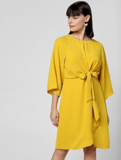 Yellow Front Tie Shift Dress