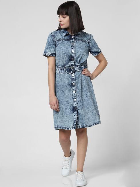 Blue Heavily Washed Denim Dress
