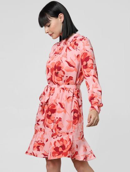 Pink Floral Print Shift Dress