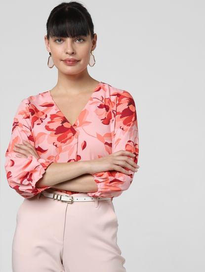 Pink Floral Print Top
