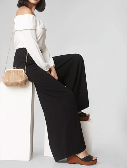 Black High Rise Wide Leg Pants
